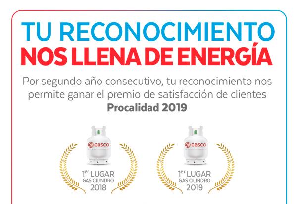 Tu reconocimiento nos llena de energía. Premio satisfacción de clientes Procalidad 2019